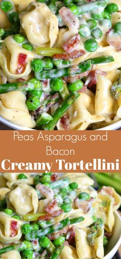 Creamy Spring Tortellini with Peas Asparagus and Bacon.Creamy Spring Tortellini with Peas Asparagus and Bacon. Delicious creamy tortellini dish made comforting with Parmesan cream sauce and crispy bacon and it's also load Bacon Pasta Recipes, Creamy Pasta Recipes, Pea Recipes, Italian Recipes, Cooking Recipes, Dinner Recipes, Tortellini Sauce Recipes, Pasta Sauces, Oats Recipes