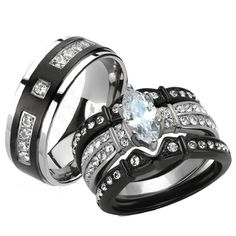 Her & His 4pc Black Stainless Steel & Titanium Wedding Engagement Ring Band Set Size Women's 07 Men's 10