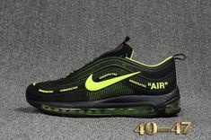 Cheap Off White X Nike Air Max 97.2 KPU Mens shoes  Black  Green   dcf19170d