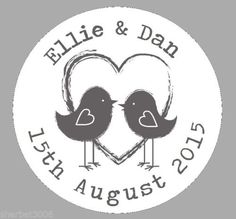 24-Personalised-Round-Labels-Shabby-Lovebirds-Grey-Round-Wedding-Favour-Sticker £1.70 + £1 P&P for kids bags