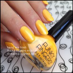 funky fingers hang 10 brah (solar, changes to orange) Solar Nails, Funky Fingers, Nail Polish Colors, Nail Polishes, Hang Ten, Nail Polish Collection, Love Nails, Beauty Makeup, Nail Art