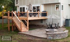 Leeder - Cedar deck in Kansas City with stamped concrete patio and firepit. - Traditional - Deck - Kansas City - by All Weather Decks Fire Pit Seating, Fire Pit Backyard, Seating Areas, Patio Deck Designs, Patio Design, Patio Ideas, Design Design, Pergola Patio, Backyard Patio