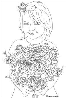 Nicole's Free Coloring Pages: Wildflowers for a happy day * Coloring page * Fetita cu flori de camp * desen de colorat