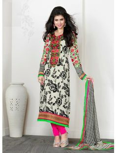 Off White Crepe Silk Salwar Kameez for Girls Saris, Pakistani Outfits, Indian Outfits, Affordable Suits, Designer Salwar Suits, Designer Sarees, Pakistan Fashion, Desi Clothes, Salwar Kameez