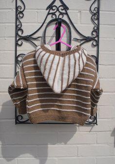 Childs hooded sweater stripe handknit unisex by JaminaRose on Etsy, $31.00
