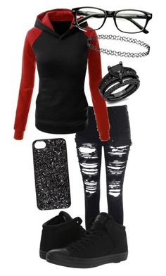 """Time For Sweater Weather"" by laineyroxs on Polyvore featuring Glamorous, Converse, Marc by Marc Jacobs and YES"