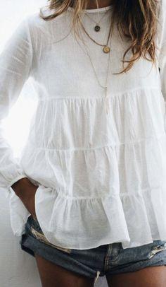 Blusa blanca volantes ruffled shirt blouse