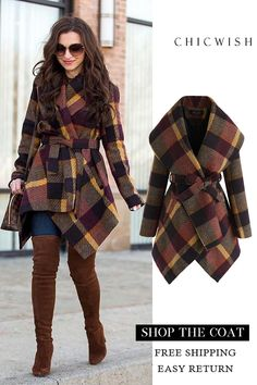 Check Rabato Coat - Winter Outfits for Work Cute Fall Outfits, Winter Fashion Outfits, Fall Winter Outfits, Autumn Winter Fashion, Trendy Outfits, Cool Outfits, Fashion Mode, Look Fashion, Unique Fashion