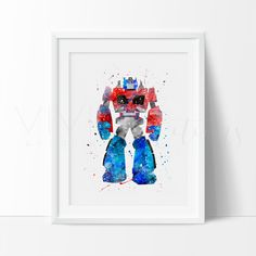 Optimus Prime Transformers Rescue Bots Modern nursery art for Boys featuring your favorite Superhero. Affordable handmade nursery art prints that compliment any style nursery project you have in mind.