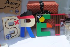 DONE Jake and the Neverland Pirates Letter Art - Arya's name - striped and bejeweled