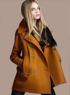 776f479547c Fashion Double Breasted Winter Pea Coat with Pockets - OASAP.com Барберри  Пальто