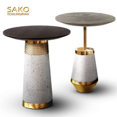 https://flic.kr/p/RtVn3M | BABYLON | side tables, made of concrete , polished and gold plated brass, marble or oak wood on top.