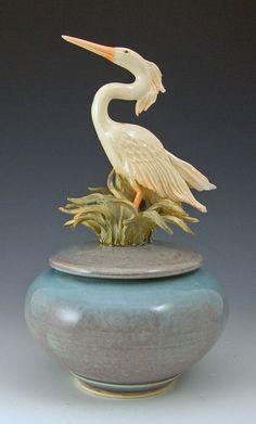 Heron Covered Jar Teal by Bonnie Belt