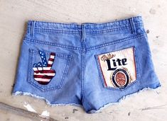 Feb 2020 - Send in your own shorts, jeans, etc. and have painted like pictured or as requested! Painted Shorts, Painted Jeans, Painted Clothes, Hand Painted, Camo Denim Jacket, Denim Overalls, Jean Shorts, Denim Jackets, Miller Lite