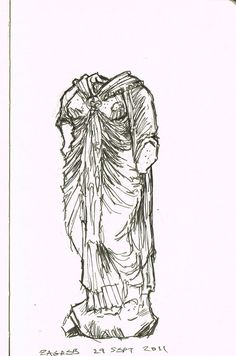 Roman Statue    Moleskine art, drawing, pen and ink