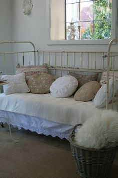 Daybed, Pillows, Living Room. White, Grey, Black, Chippy, Shabby Chic, Whitewashed, Cottage, French Country, Rustic, Swedish decor Idea. ***Pinned by oldattic ***.