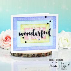 """Hooray, it's what I like to call HoneyBee Saturyay!! 🎉☺🙃 From now on I will post a project featuring @honeybeestamps every Saturday (except for special occasions)! When I got my new DT supplies I completely got addicted to their """"Double Stitched Frames"""" so I used them to make this colorful Distress Ink background! 💜💙💚💖 On top are some white embossed vellum flowers from """"Zenfloral"""" and several layers of the """"Wonderful"""" die cut. Hope you like it! 🤗 #honeybeestamps #stamping #embossing… Honey Bee Stamps, Distress Ink, Tim Holtz, I Got This, I Card, Stamping, Card Ideas, Special Occasion, Frames"""