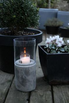 Concrete  Glass Hurricane Lamp