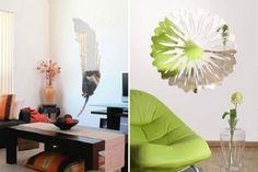 mirror wall decals flower design