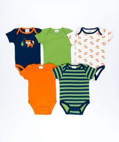 Another great find on #zulily! Navy & Orange Fox Bodysuit Set - Infant #zulilyfinds