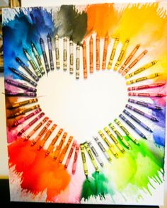 Melted Crayons on Canvas Heart Shape