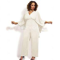 2de243455bc8 Women s Plus Size Party V Neck White Black Jumpsuit