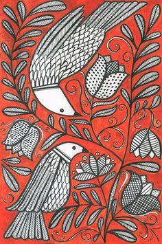 susan black design Madhubani Art, Madhubani Painting, Susan Black, Silk Painting, Painting Inspiration, Folk Art, Doodles, Birds, Deco