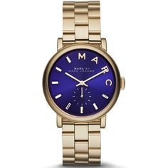 This classic timepiece by Marc Jacobs features a stainless steel case and stainless steel bracelet. a blue dial, precise quartz movement and a water-resistance level of up to 50 meters finish this fine timepiece.