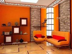 living room paint color ideas Simple Home Decoration - Is your home feeling a little dated? Living Room Color Schemes, Living Room Colors, Living Room Designs, Orange Accent Walls, Orange Couch, Green Sofa, 1960s Home Decor, Wall Color Combination, Modern Interior