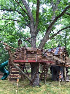 The Grayson Tree House Etsy Backyard Playground, Backyard For Kids, Tree House Playground, Backyard Treehouse, Treehouse Living, Tree House Plans, Cool Tree Houses, Tree House Designs, The Ranch