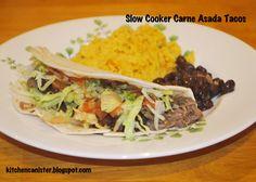 The Kitchen Canister: Slow Cooker Carne Asada Tacos Slow Cooker Recipes, Diet Recipes, Asada Tacos, Carne Asada, Kitchen Canisters, Beef Dishes, Tex Mex, Fajitas, 52 Weeks