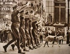 Spain - 1939. - GC - A Falange party march in Madrid.