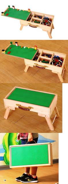 Superior Mixed Lots 183451: Lego Table Duplo Compatible Storage Play Folding  Handmade Wooden Kids Children