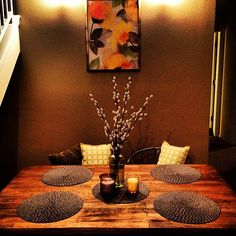"Photo: ""Our improved little dining room.it's about time me and decorated a little! Decor, Dining Table Decor, Cozy House, Dining Decor, Fall Decor, Inside Home, Dining Room Table Decor, Home Decor, Dining Table Centerpiece"