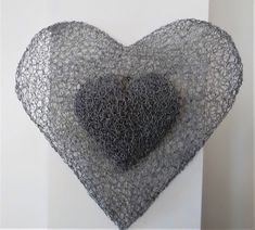 hollow chicken wire heart with solid heart attached on top. Chicken Wire Sculpture, Heart, Pattern, Top, Design, Decor, Decoration, Patterns, Model
