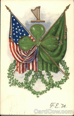 Divided Back Postcard American Flag and Irish Flag Together with Clover Leaf Flags Irish Symbols, Celtic Symbols, Celtic Art, Irish Tattoos, Celtic Tattoos, Irish American, American Flag, Doodle, Celtic Culture