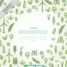 Hand drawn world environment day background Free Vector