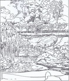 Coloring Japanese Garden A Print Free Picture Source by Coloring Book Art, Doodle Coloring, Apple Coloring, Colouring Pages, Coloring Sheets, Free Adult Coloring, Printable Adult Coloring Pages, Belle Image Nature, Landscape Drawings