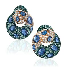 Cellini Jewelers Blue and Green Sapphire Earrings