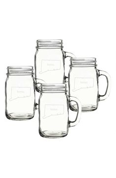 Cathy's Concepts 'Home State' Glass Drinking Jars - White (Set of 4)