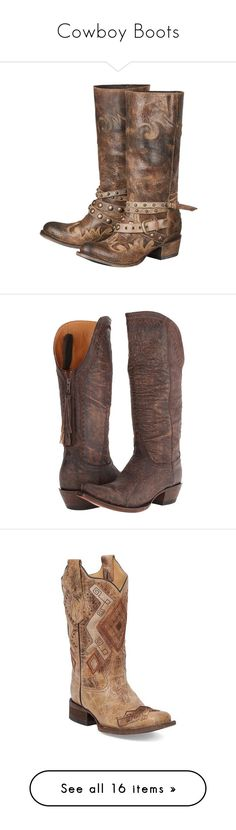 """""""Cowboy Boots"""" by amyunderhill ❤ liked on Polyvore featuring shoes, boots, mid-calf boots, leather cowgirl boots, tan leather boots, brown leather boots, western cowboy boots, cowboy boots, western boots and knee-high boots"""