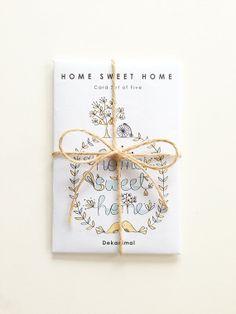 Home Sweet Home  Greeting Card set Kraft Envelope   - Horse Animal Illustration - Holiday Card - Anniversary - Celebration - Birthday by dekanimal, $13.00