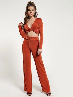 Buy Missguided Orange Twist Front Belted Co-ord Set for Women Online in India Wide Leg Trousers, Trousers Women, Trouser Co Ord, Orange Twist, Co Ord Sets, Street Look, Plunging Neckline, Missguided, Underwear