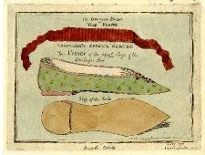 Above is a ribbon, the central part of which is stiffened by a spring, described as 'Vanbuchel's Spring Garter'. Below are 'Two Views of the exact Size of the Duchess's Shoe': A low-heeled shoe with a pointed toe, decorated with jewels, and a tracing of the sole of the same shoe, which is 5 1/2 in. long. 6 December 1791  Hand-coloured etching