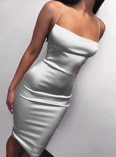 How sexy and elegant this sheath ivory prom dress is!High quality satin, spaghetti strap, sleeveless and zipper up are very gorgeous. Besides, the price is very cheap. Straps Prom Dresses, Spaghetti Strap Dresses, Knee Length Dresses, Satin Dresses, Sexy Dresses, Dresses With Sleeves, Spaghetti Straps, Silver Satin Dress, Dress Straps