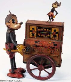 tinplate Mickey and Minnie Mouse Organ Grinde
