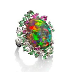 *Poison Ivy Ring by Katherine Jetter, This magnificent white gold ring displays a rare Mexican Anhydrous opal. The opal is surrounded by pave white diamonds, vibrant tsavorite gemstones, and rich red ruby gemstones. Gold Diamond Rings, Opal Rings, White Gold Rings, Opal Jewelry, Fine Jewelry, Jewelry Rings, Jewellery, Jewelry Box, Fantasy Jewelry