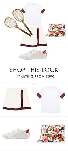 """""""why does this look like she's about to play tennis"""" by fashionjoker5552471 ❤ liked on Polyvore featuring Gucci"""
