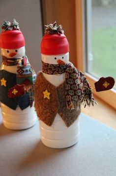 Christmas crafts from plastic bottle photo.