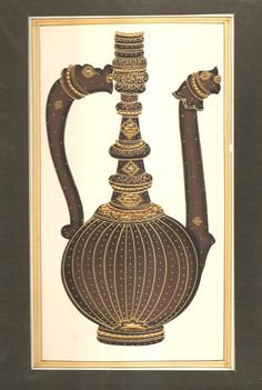 Rajasthani Miniature Painting Handmade Surahi Wine Jug Decor Ethnic Paper Art